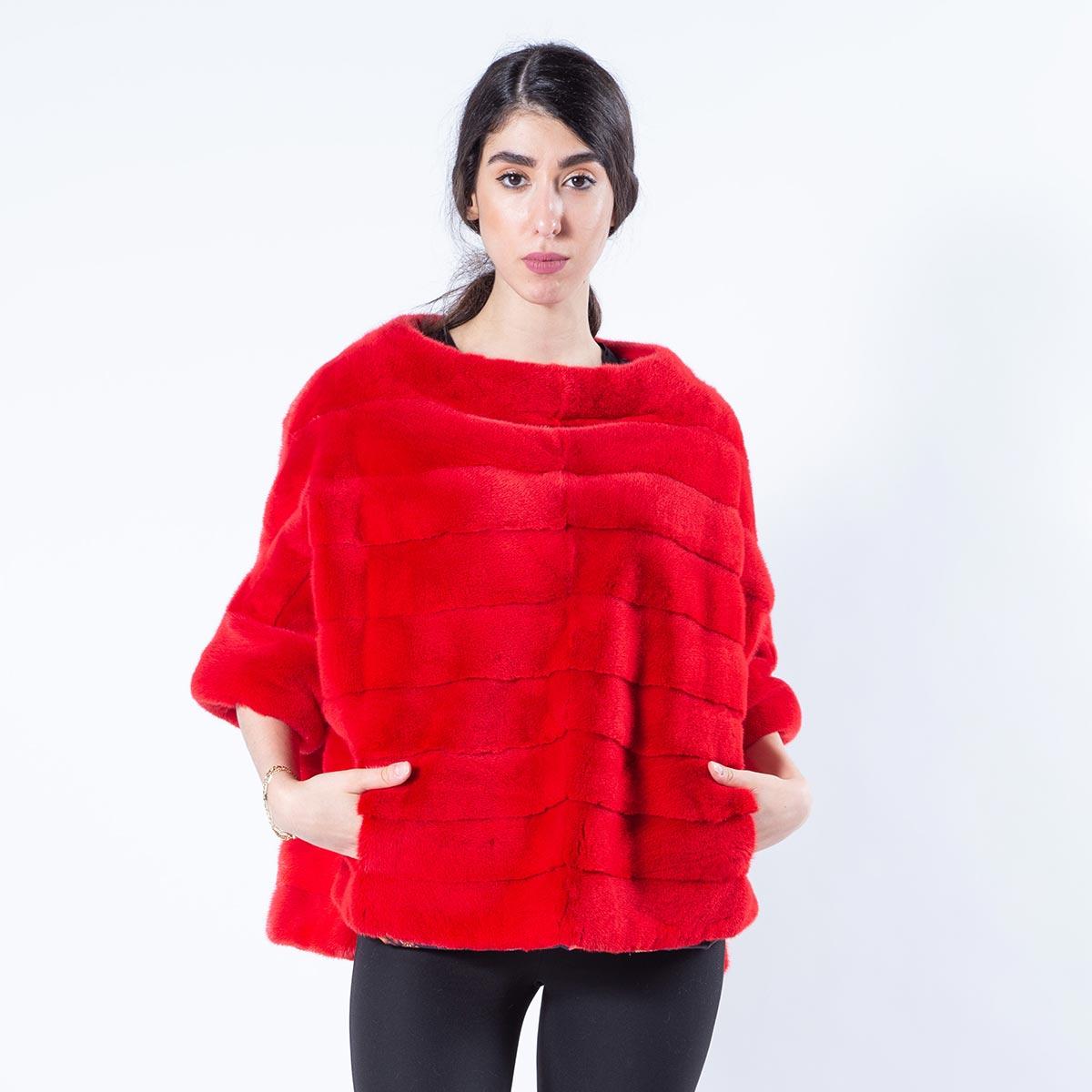 Cherry Mink Fur Blouse with short sleeves | Блуза из меха норки цвета Cherry - Sarigianni Furs