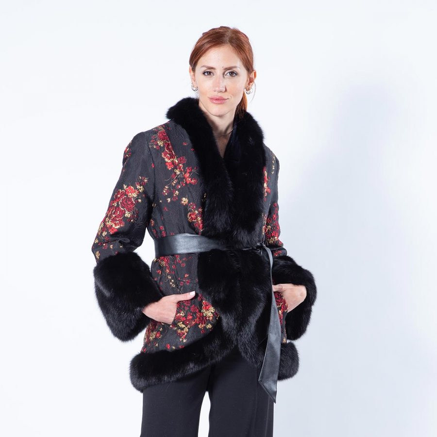 Black Sheared Mink and Fabric Jacket with sable collar | Sarigianni Furs