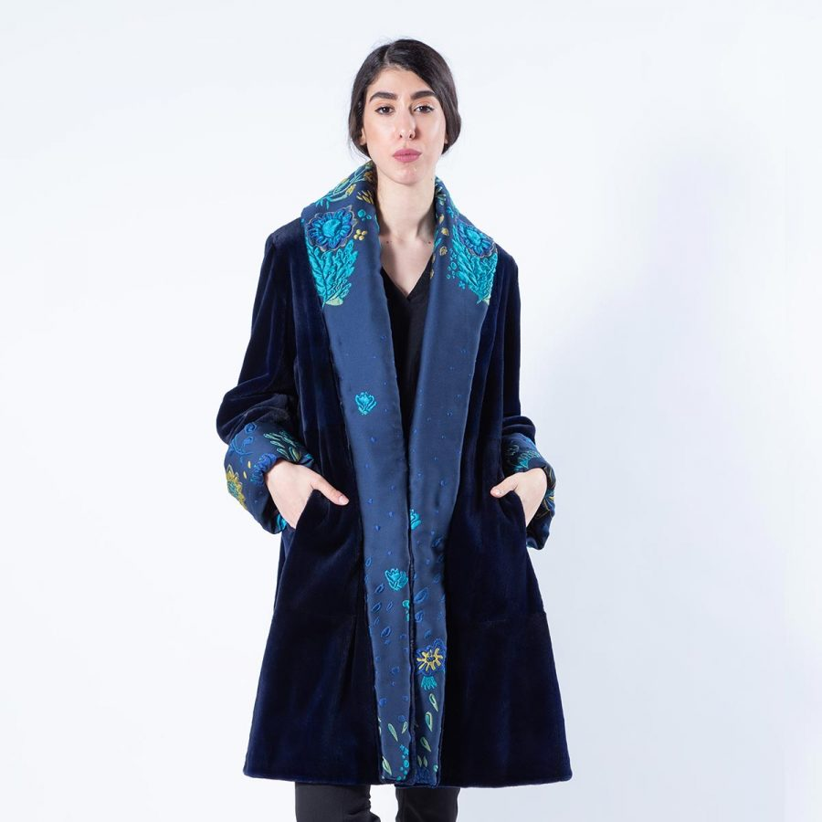 Royal Blue Sheared Mink Fur Jacket with shawl collar | Sarigianni Furs