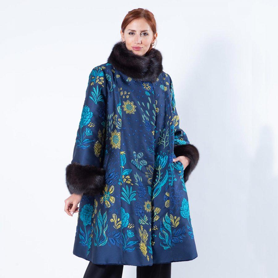 Double-faced Royal Blue Sheared Mink and Fabric Coat | Двусторонняя шуба из меха стриженной норки цвета Royal Blue и ткани - Sarigianni Furs