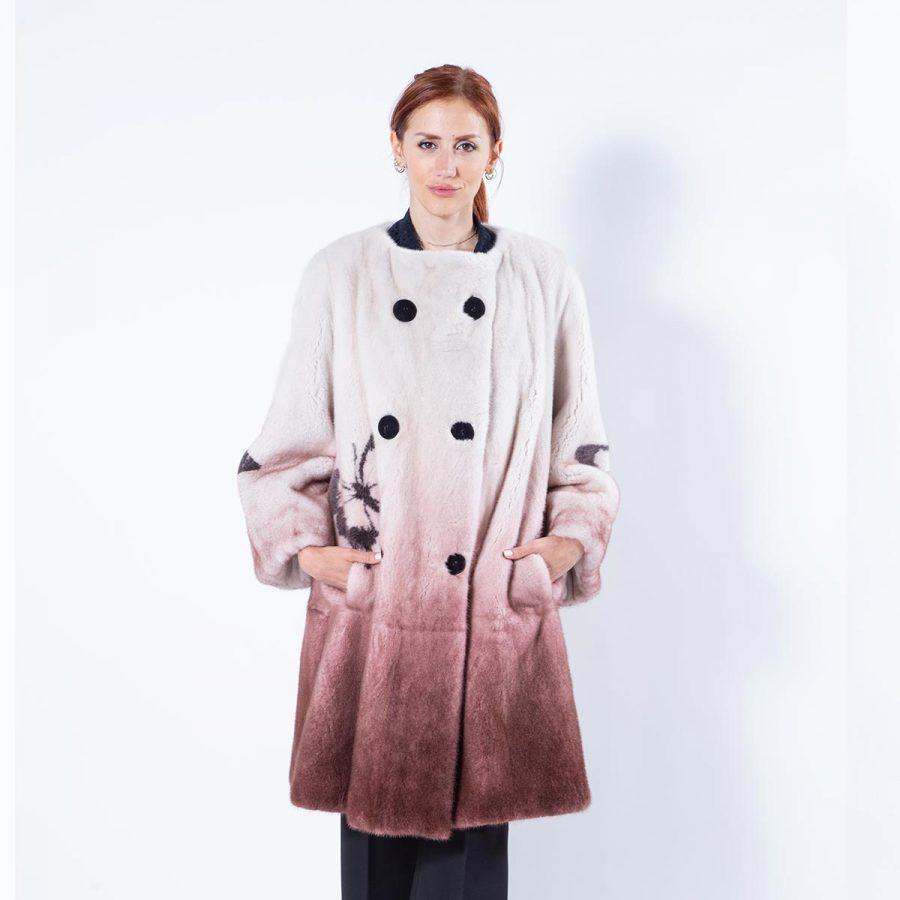 Bordeaux Degrade Mink Fur Jacket with Butterfly Print | Sarigianni Furs