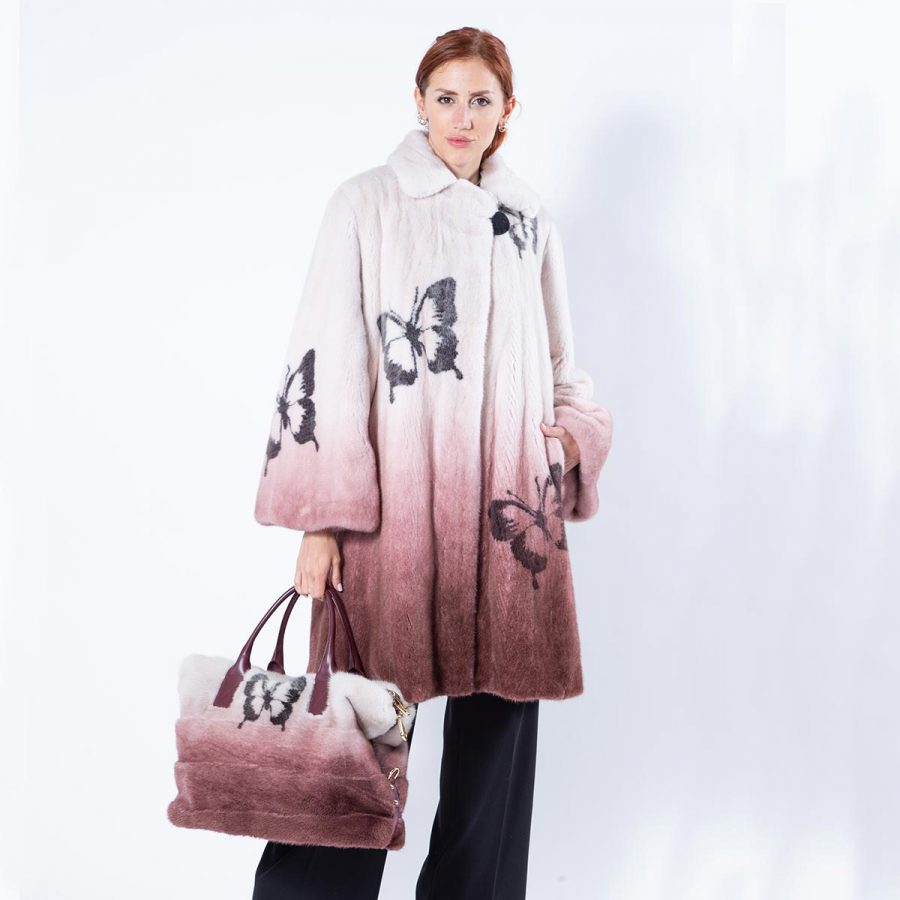 Mink Fur Jacket with Butterfly Print in Bordeaux Degrade - Sarigianni Furs