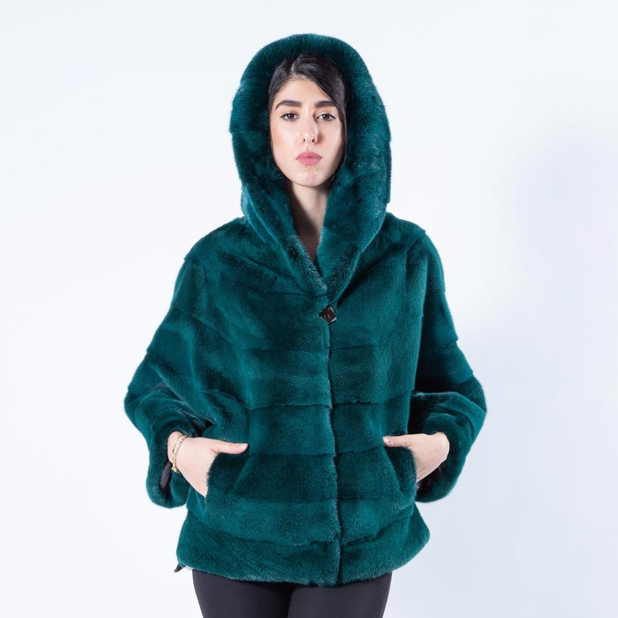 Shock Green Mink Fur Cape with Hood - Sarigianni Furs