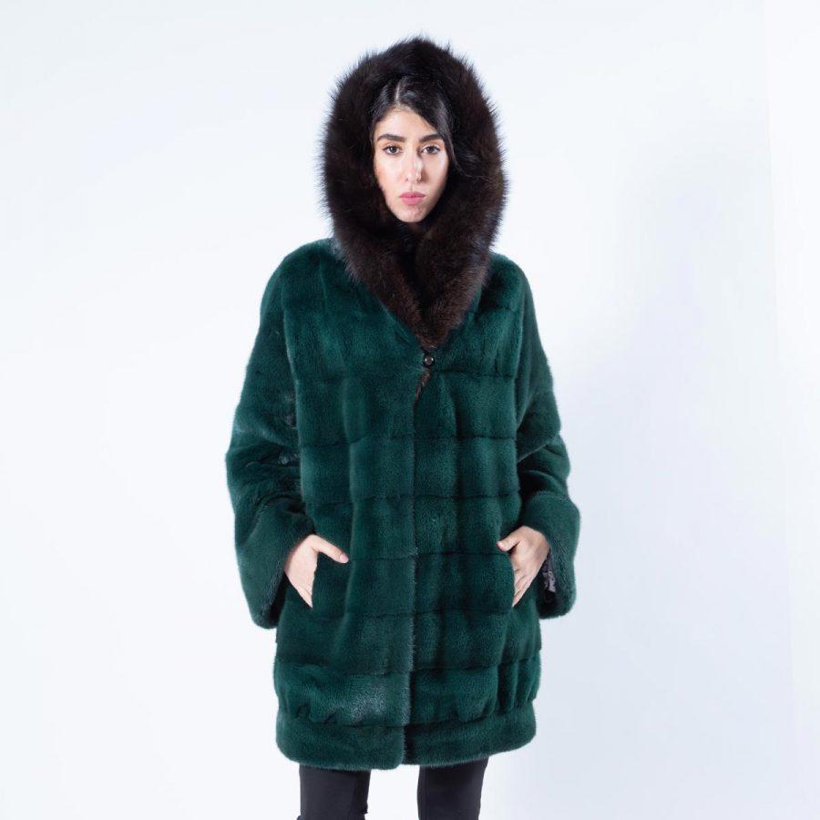 Shock Green Mink Jacket with Hood - Sarigianni Furs