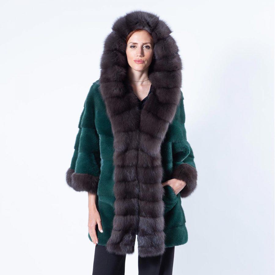 Tatiana Shock Green Mink Jacket with hood | Пальто Татьяна из норки цвета Shock Green - Sarigianni Furs