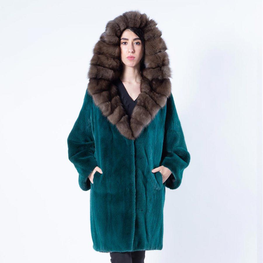 Shock Green Mink Jacket with Sable Hood - Sarigianni Furs