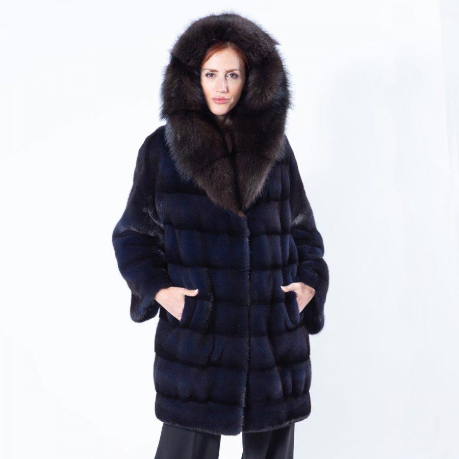Royal Blue Mink Fur Jacket with Hood - Sarigianni Furs