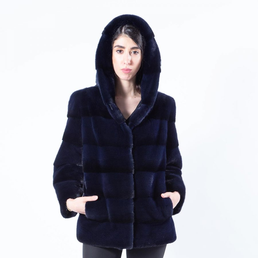 Royal Blue Mink Jacket with hood and 7/8 sleeves | Пальто из норки цвета Royal Blue с капюшоном и рукавами 7/8 - Sarigianni Furs