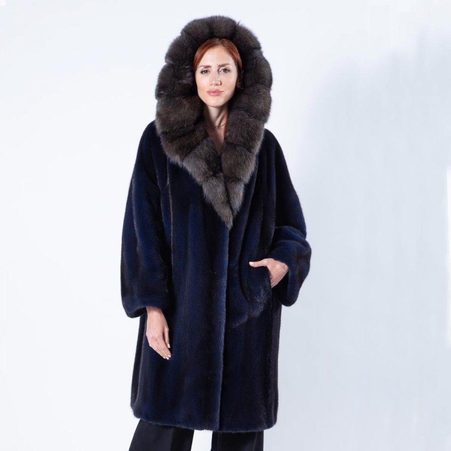 Royal Blue Mink Jacket - Sarigianni Furs