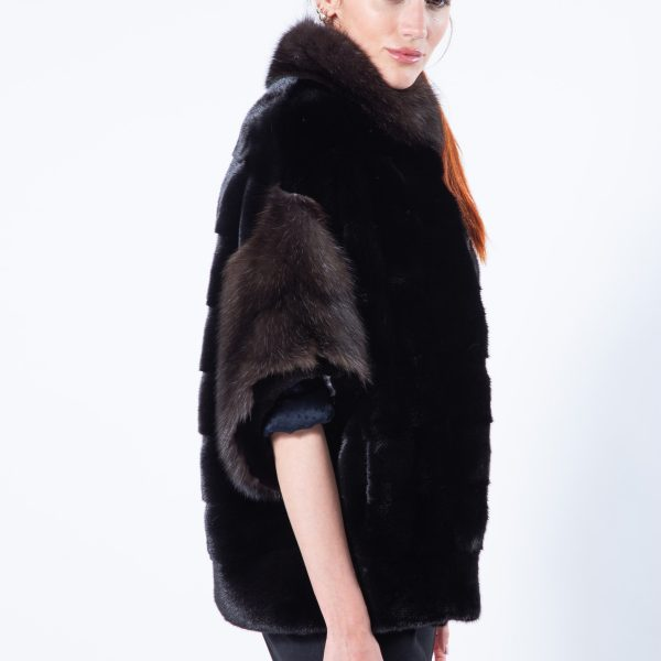 Blackglama Mink Cape with sable collar and cuffs - Sarigianni Furs