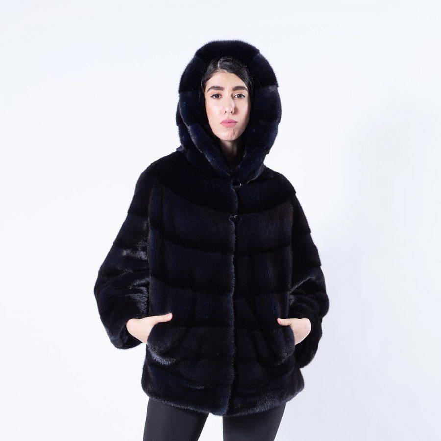 Mink Jacket with hood in Royal Blue | Пальто с капюшоном из норки цвета Royal Blue - Sarigianni Furs