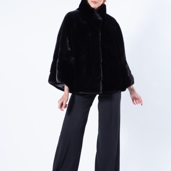 Blackglama Mink Cape with 7/8 sleeves - Sarigianni Furs