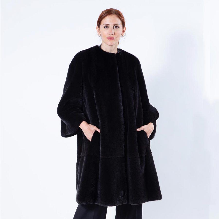 Blackglama Mink Coat with chanel collar | Sarigianni Furs