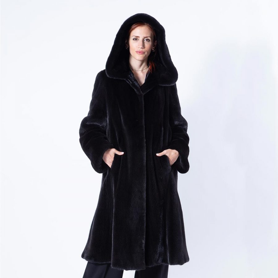 Blackglama Mink Coat with hood - Sarigianni Furs