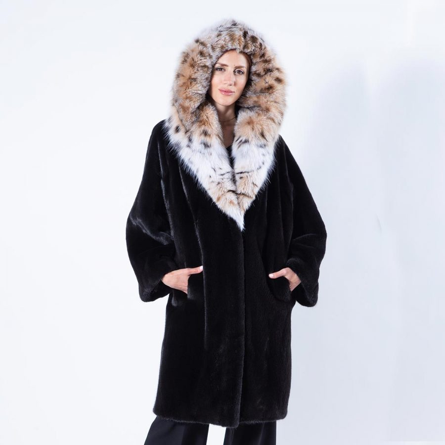 Blackglama Mink Coat with Bobcat hood | Sarigianni Furs
